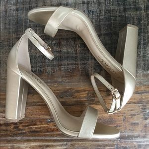 Lulus Gold Taylor Ankle Strap Heels
